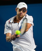 Andy Roddick (USA) against Thiemo De Bakker (NED) in the First Round of the Men's Singles. Roddick beat De Bakker 6-1 6-4 6-4..International Tennis - Australian Open Tennis - Mon 18 Jan 2010 - Melbourne Park - Melbourne - Australia ..© Frey - AMN Images, 1st Floor, Barry House, 20-22 Worple Road, London, SW19 4DH.Tel - +44 20 8947 0100.mfrey@advantagemedianet.com