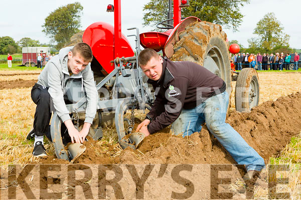 Cathal Healy and Adam Fleming Kilcummin checking their plough