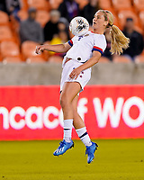 HOUSTON, TX - JANUARY 28: Lindsey Horan #9 of the United States traps the ball during a game between Haiti and USWNT at BBVA Stadium on January 28, 2020 in Houston, Texas.