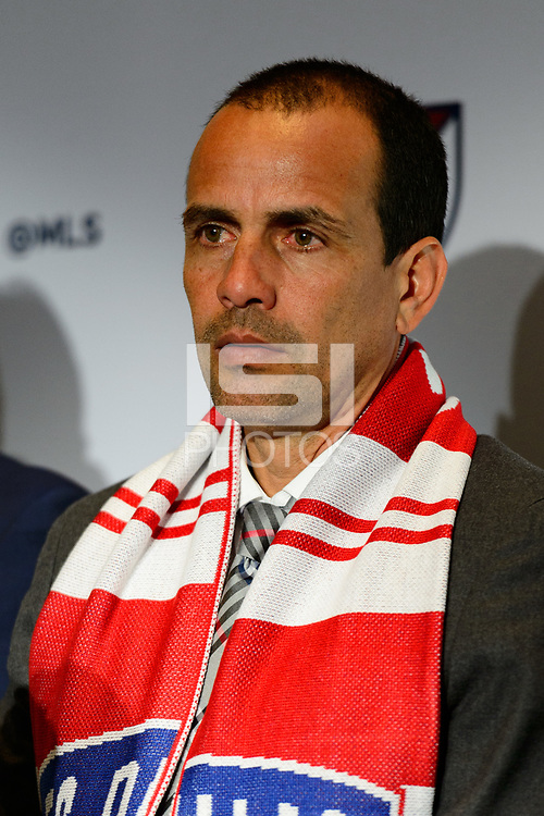 Philadelphia, PA - Friday January 19, 2018: Oscar Pareja during the 2018 MLS SuperDraft at the Pennsylvania Convention Center.