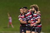 Orbyn Leger and Liam Daniela congratulate Nigel Ah Wong after he scored a try from an intercept right on halftime. Mitre 10 Cup game between Counties Manukau Steelers and Tasman Mako's, played at ECOLight Stadium Pukekohe on Saturday October 14th 2017. Counties Manukau won the game 52 - 30 after trailing 22 - 19 at halftime. <br /> Photo by Richard Spranger.
