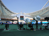 Aug 29, 2004 - Athens, Greece - Remote cameras are placed on the field prior the start of events  at Olympic stadium in Athens, Greece Sunday August 29, 2004. (2004). .(Credit Image: © Alan Greth/ZUMA Press)
