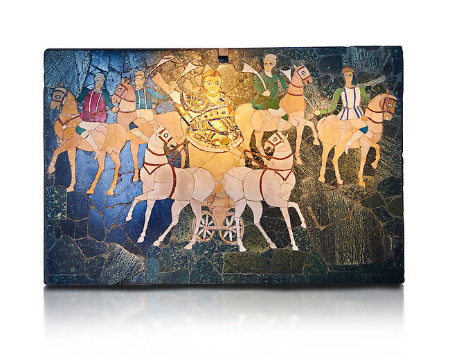 4th Century AD Roman Opus Sectile Mosaic of a chariot & 4 horses from the basilica de Giunio Basso.  Museo Nazionale Romano ( National Roman Museum), Rome, Italy. Against a white background.