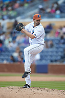 Durham Bulls relief pitcher Cody Hall (35) in action against the Buffalo Bison at Durham Bulls Athletic Park on April 25, 2018 in Allentown, Pennsylvania.  The Bison defeated the Bulls 5-2.  (Brian Westerholt/Four Seam Images)