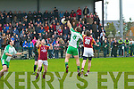 The Bernard O'Callaghan Memorial Senior Football Championship 2013, Round 1 Ballyduff (white/green) V Duagh (Red) which took place on Sunday in Frank Sheehy Park, Listowel.  Referee: Billy McElligot, Listowel Emmets.<br /> <br /> Garry O'Brien winning the throw in ball for Ballyduff, <br /> <br /> (30 duagh player not on game programme)
