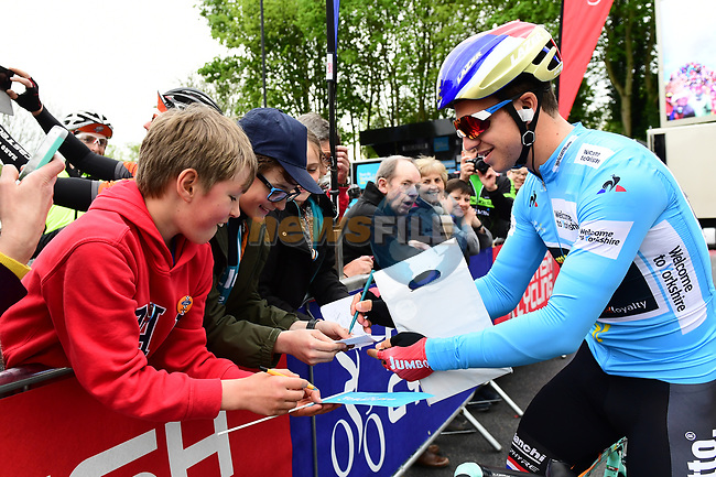 Race leader Dutch National Champion Dylan Groenewegen (NED) Team Lotto NL-Jumbo at sign on before the start of Stage 2 of the Tour de Yorkshire 2017 running 122.5km from Tadcaster to Harrogate, England. 29th April 2017. <br /> Picture: ASO/A.Broadway | Cyclefile<br /> <br /> <br /> All photos usage must carry mandatory copyright credit (&copy; Cyclefile | ASO/A.Broadway)