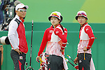 (L-R) Kaori Kawanaka, Saori Nagamine (JPN),<br /> AUGUST 7 2016 - Archery : <br /> Women's teaml final Round Quarter finals<br /> at Sambodromo <br /> during the Rio 2016 Olympic Games in Rio de Janeiro, Brazil. <br /> (Photo by Yusuke Nakanishi/AFLO SPORT)