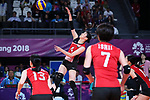 Risa Shinnabe (JPN), <br /> SEPTEMBER 1, 2018 - Volleyball : <br /> Women's Bronze Medal match<br /> between Japan 1-2 Korea <br /> at Gelora Bung Karno Indoor Tennis Stadium <br /> during the 2018 Jakarta Palembang Asian Games <br /> in Jakarta, Indonesia. <br /> (Photo by Naoki Nishimura/AFLO SPORT)