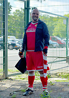 17th May 2020,Stadion An der Alten Försterei, Berlin, Germany; Bundesliga football, FC Union Berlin versus Bayern Munich;  FC Union Berlin Fan stands in front of locked gates in replica kit and holding a beer