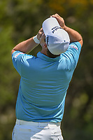 Padraig Harrington (IRL) puts eye drops in his eyes after sinking his putt on 17 during day 1 of the Valero Texas Open, at the TPC San Antonio Oaks Course, San Antonio, Texas, USA. 4/4/2019.<br /> Picture: Golffile   Ken Murray<br /> <br /> <br /> All photo usage must carry mandatory copyright credit (&copy; Golffile   Ken Murray)