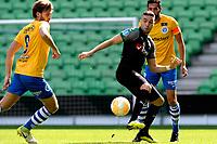 GRONINGEN - Voetbal, FC Groningen - de Graafschap, oefenduel, seizoen 2018--2019, 05-09-2018, <br /> FC Groningen speler Mimoun Mahi in duel met Javier Vet