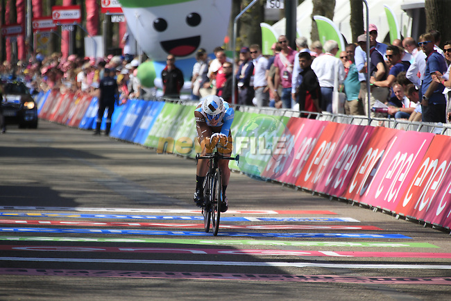 Patrick Gretsch (GER) AG2R La Mondiale crosses the finish line of Stage 1 of the 2016 Giro d'Italia, an individual time trial of 9.8km around Apeldoorn, The Nethrerlands. 6th May 2016.<br /> Picture: Eoin Clarke | Newsfile<br /> <br /> <br /> All photos usage must carry mandatory copyright credit (&copy; Newsfile | Eoin Clarke)