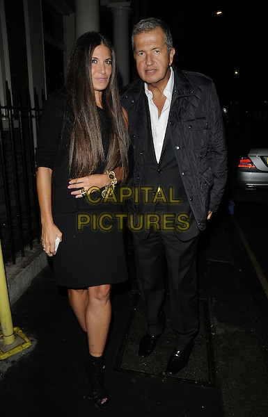 ELIZABETH SALZMANN & MARIO TESTINO.Gwyneth Paltrow & Coach luxury bag & accessories brand 70th anniversary dinner departures, the Arts Club, London, England..September 7th, 2011.full length black dress suit grey gray coat.CAP/CAN.©Can Nguyen/Capital Pictures.