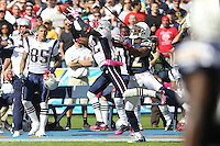 10/24/10 San Diego, CA: New England Patriots cornerback Devin McCourty #32 and San Diego Chargers wide receiver Patrick Crayton #12 during an NFL game played at Qualcomm Stadium between the San Diego Chargers and the New England Patriots. The Patriots defeated the Chargers 23-20.