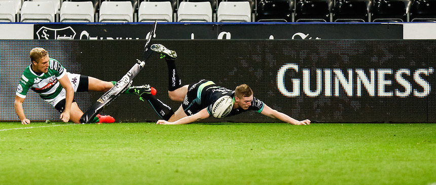 Dafydd Howells of Ospreys scores his sides fifth try<br /> <br /> Photographer Simon King/CameraSport<br /> <br /> Guinness PRO12 Round 3 - Ospreys v Benetton Rugby Treviso - Saturday 17 September 2016 - Liberty Stadium - Swansea<br /> <br /> World Copyright &copy; 2016 CameraSport. All rights reserved. 43 Linden Ave. Countesthorpe. Leicester. England. LE8 5PG - Tel: +44 (0) 116 277 4147 - admin@camerasport.com - www.camerasport.com
