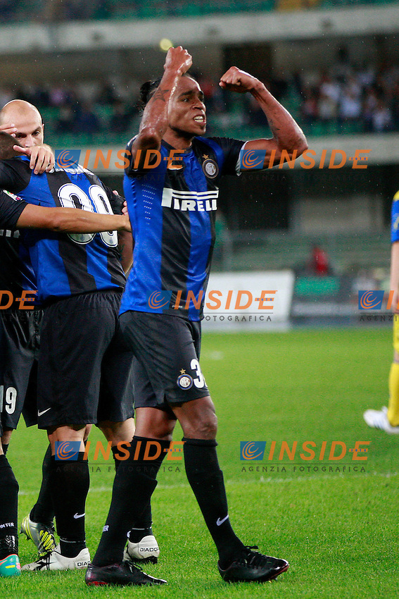 "Esultanza Alvaro Pereira Inter.Goal Celebration.Verona 26/09/2012 Stadio ""Bentegodi"".Football Calcio Serie A 2012/13.Chievo v Inter.Foto Insidefoto Paolo Nucci."