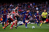 18th March 2018, Camp Nou, Barcelona, Spain; La Liga football, Barcelona versus Athletic Bilbao; Leo Messi of FC Barcelona beats Iturraspe of Athletic Bilbao in the box
