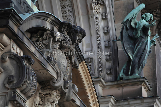 Architectural detail of the facade of the Berliner Dom or Berlin Cathedral, redesigned by Julius Raschdorff and completed 1905 in Historicist style after being badly damaged in World War Two, although the original chapel on this site was consecrated in 1454, Museum Island, Mitte, Berlin, Germany. The buildings on Museum Island were listed as a UNESCO World Heritage Site in 1999. Picture by Manuel Cohen