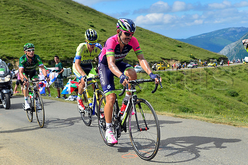 22.07.2014. Carcassonne to Bagnères-de-Luchon, France. Tour de France cycling championship, stage 16.   ROGERS Michael (AUS - Team TINKOFF-SAXO), SERPA PEREZ Jose Rodolfo (COL - Lampre-Merida) and VOECKLER Thomas (FRA - Team Europcar) ascend the Port de Bales