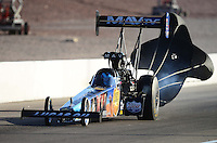 Oct. 27, 2012; Las Vegas, NV, USA: NHRA top fuel driver Brandon Bernstein during qualifying for the Big O Tires Nationals at The Strip in Las Vegas. Mandatory Credit: Mark J. Rebilas-