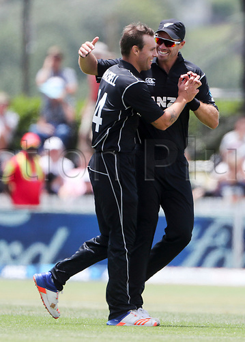 20th December, 2017, Whangarei, New Zealand;  New Zealand's Doug Bracewell is congratulated on a wicket by Tim Southee. New Zealand Black Caps versus West Indies, first One Day International cricket, Cobham Oval, Whangarei, New Zealand. Wednesday, 20 December, 2017.