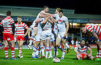 Picture by Allan McKenzie/SWpix.com - 17/04/2015 - Rugby League - Ladbrokes Challenge Cup - Wakefield Trinity Wildcats v Halifax RLFC - Rapid Solicitors Stadium, Wakefield, England - Wakefield celebrate their victory over Halifax in the Ladbrokes Challenge Cup.