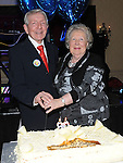 Noel Quinn celebrating his 80th birthday in the Westcourt hotel with his wife Una. Photo: Colin Bell/pressphotos.ie