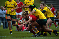 Emily Belchos scores during the 2017 International Women's Rugby Series rugby match between Canada and Australia Wallaroos at Smallbone Park in Rotorua, New Zealand on Saturday, 17 June 2017. Photo: Dave Lintott / lintottphoto.co.nz