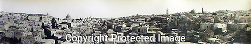 Jerusalem Panorama taken c. 1918, by Wallace. View from Damascus Gate area.