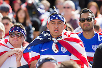 San Francisco, CA - Thursday, June 26, 2014:  USA soccer fans watch the USA vs. Germany first round World Cup match at a public viewing at the Civic Center in San Francisco, CA