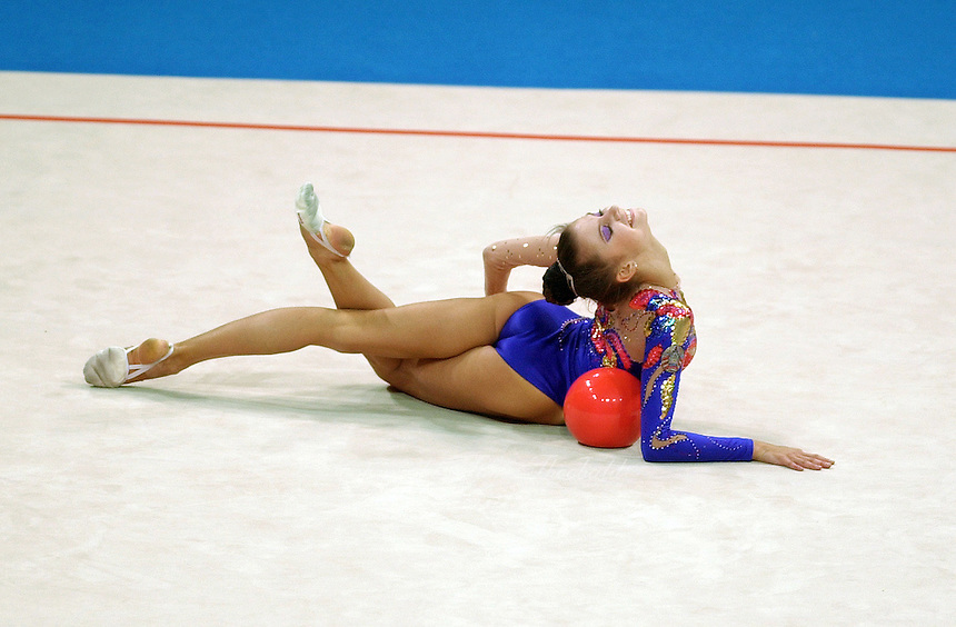 Sep30, 2000; SYDNEY, AUSTRALIA:<br /> Yulia Raskina of Belarus performs with ball during rhythmic gymnastics final at 2000 Summer Olympics. Yulia took silver medal.