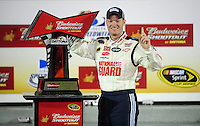 Feb 9, 2008; Daytona, FL, USA; Nascar Sprint Cup Series driver Dale Earnhardt Jr (88) celebrates after winning the Bud Shootout at Daytona International Speedway. Mandatory Credit: Mark J. Rebilas-US PRESSWIRE