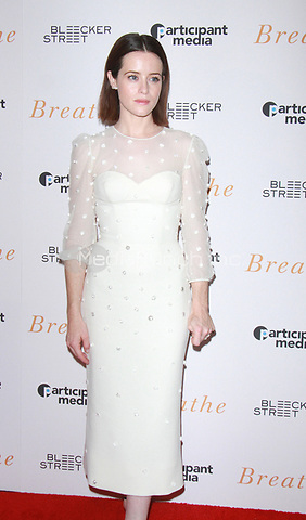 NEW YORK, NY October 09, 2017  Claire Foy attend Bleecker Street present a special screening of Breathe at the AMC Loews Lincoln Square in New York October 09,  2017. Credit:RW/MediaPunch