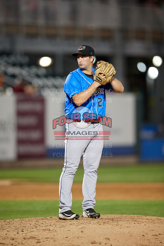 Akron RubberDucks relief pitcher R.C. Orlan (28) gets ready to deliver a pitch during a game against the Harrisburg Senators on August 18, 2018 at FNB Field in Harrisburg, Pennsylvania.  Akron defeated Harrisburg 5-1.  (Mike Janes/Four Seam Images)
