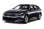 2018 Kia Optima SW PHEV Sense 5 Door Wagon angular front stock photos of front three quarter view