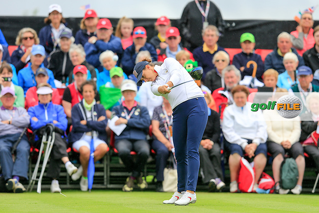 Monica Vaughn during Sunday Singles matches at the 2016 Curtis cup from Dun Laoghaire Golf Club, Ballyman Rd, Enniskerry, Co. Wicklow, Ireland. 12/06/2016.<br /> Picture Fran Caffrey / Golffile.ie<br /> <br /> All photo usage must carry mandatory copyright credit (&copy; Golffile | Fran Caffrey)