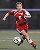 Center Moriches No. 5 Casey Luongo races downfield during the varsity girls' soccer Class B Long Island Championship against Carle Place at Adelphi University on Saturday, November 7, 2015. Center Moriches won 3-2 in overtime.