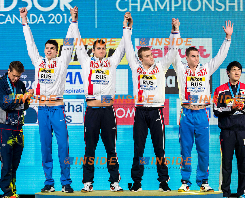 Russia RUS Gold Medal <br /> BRIANSKII Aleksei LOBINTSEV Nikita POPKOV Aleksandr <br /> MOROZOV Vladimir<br /> Men's 4x50m Freestyle<br /> 13th Fina World Swimming Championships 25m <br /> Windsor  Dec. 9th, 2016 - Day04 Finals<br /> WFCU Centre - Windsor Ontario Canada CAN <br /> 20161209 WFCU Centre - Windsor Ontario Canada CAN <br /> Photo &copy; Giorgio Scala/Deepbluemedia/Insidefoto
