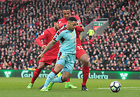 Burnley's Andre Gray holds off the challenge from Liverpool's Joel Matip in the Liverpool penalty area<br /> <br /> Photographer Rich Linley/CameraSport<br /> <br /> The Premier League - Liverpool v Burnley - Sunday 12 March 2017 - Anfield - Liverpool<br /> <br /> World Copyright &copy; 2017 CameraSport. All rights reserved. 43 Linden Ave. Countesthorpe. Leicester. England. LE8 5PG - Tel: +44 (0) 116 277 4147 - admin@camerasport.com - www.camerasport.com