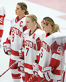 Holly Lorms (BU - 8), Lauren Cherewyk (BU - 7), Carly Warren (BU - 6) - The Boston University Terriers defeated the visiting Northeastern University Huskies 3-0 on Tuesday, December 7, 2010, at Walter Brown Arena in Boston, Massachusetts.