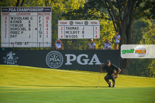 Tiger Woods (USA) lines up his putt on 9 during 2nd round of the 100th PGA Championship at Bellerive Country Club, St. Louis, Missouri. 8/11/2018.<br /> Picture: Golffile | Ken Murray<br /> <br /> All photo usage must carry mandatory copyright credit (© Golffile | Ken Murray)