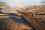Namibia;  Namib Desert, Skeleton Coast, Hoarusib River, Northern Skeleton Coast National Park, aerial view