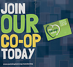Join Our Co-Op Today, East of England Co-operative Society shop advertising boards hoardings, Woodbridge, Suffolk, UK