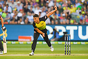10th February 2018, Melbourne Cricket Ground, Melbourne, Australia; International Twenty20 Cricket, Australia versus England; Marcus Stoinis of Australia bowls