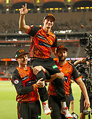 3rd February 2019, Optus Stadium, Perth, Australia; Australian Big Bash Cricket League, Perth Scorchers versus Melbourne Stars; Michael Klinger is chaired from the ground after retiring by Cameron Bancroft and Andrew Tye
