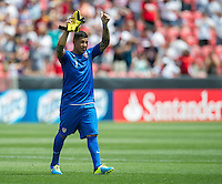 SANDY, UT - July 13, 2013: US Mens National Team goalkeeper Nick Rimando (1) celebrating the USA win after the USA vs Cuba match at Rio Tinto Stadium in Sandy, Utah. Final score USA 4, Cuba 1.