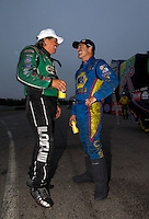 Aug 17, 2014; Brainerd, MN, USA; NHRA funny car driver John Force (left) with Ron Capps during the Lucas Oil Nationals at Brainerd International Raceway. Mandatory Credit: Mark J. Rebilas-