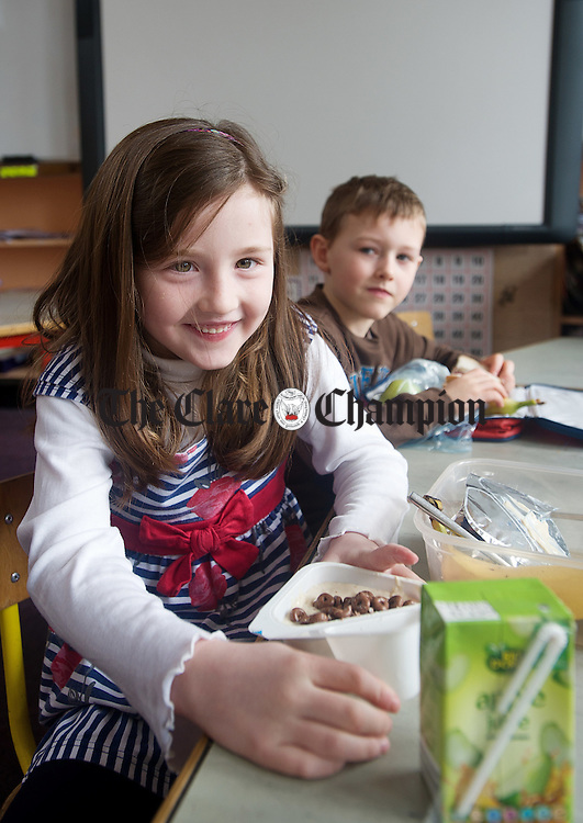 Katie Frawley tucks into her lunch at Moy national school. Photograph by John Kelly.