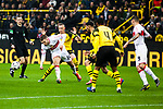 09.03.2019, Signal Iduna Park, Dortmund, GER, 1.FBL, Borussia Dortmund vs VfB Stuttgart, DFL REGULATIONS PROHIBIT ANY USE OF PHOTOGRAPHS AS IMAGE SEQUENCES AND/OR QUASI-VIDEO<br /> <br /> im Bild   picture shows:<br /> Alexander Esswein (VfB Stuttgart #14) kommt vor Marius Wolf (Borussia Dortmund #27) an den Ball, <br /> <br /> Foto &copy; nordphoto / Rauch