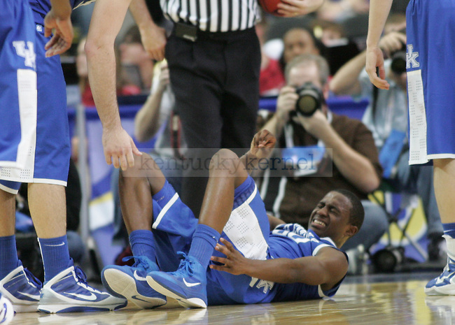 Doron Lamb sustained an injury in the final minutes of the semifinal round of the 2011 SEC Tournament between Kentucky and Alabama, played at the Georgia Dome, Saturday, March 12, 2011.  Photo by Latara Appleby | Staff